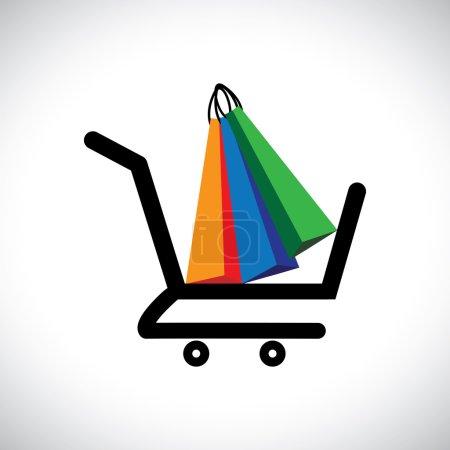 Illustration pour Illustration de concept - panier et sacs en ligne. Le graphique contient un symbole de panier avec des sacs colorés représentant conceptuellement l'achat en ligne et le commerce électronique - image libre de droit
