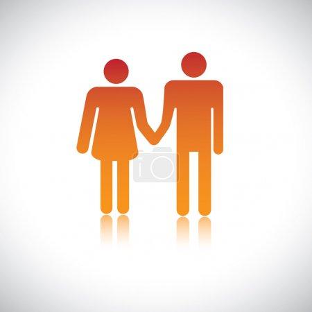 Illustration du mari femme tenant ensemble. Ce rapport graphique