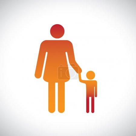 Illustration conceptuelle de mère et fils ensemble. Ce rapport graphique