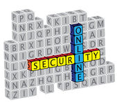 Illustration of word online security using alphabet(text) cubes The graphic can represent concepts like protection against virus attack protection against phishing & hacking online security etc