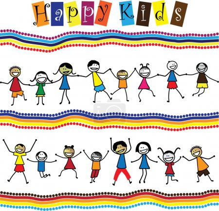 Illustration for Illustration - cute children(kids)jumping & dancing together. The graphic shows smiling and happy toddlers playing and enjoying each others company. - Royalty Free Image