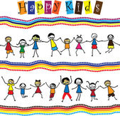 Illustration - cute children(kids)jumping & dancing together Th