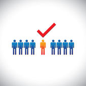Illustration- selecting(hiring) right employee worker candidat