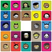 Colorful graphic of cute and happy faces of children(kids)