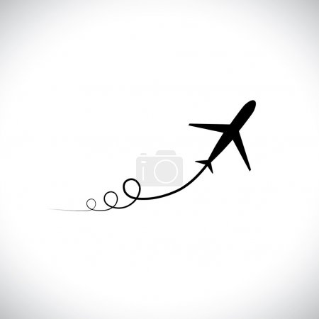 Illustration for Graphic of airplane icon take off showing its path & speeding up. This illustration can also represent silhouette symbol of a military jet zoom in the sky with high speed - Royalty Free Image
