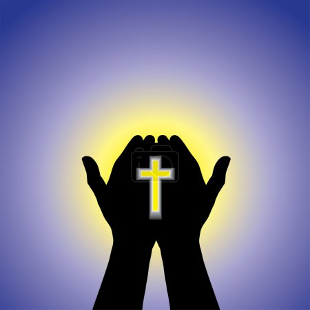 Person praying or worshiping with cross in hand - concept illust