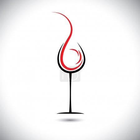 Illustration pour Illustration vectorielle abstraite du vin versé (éclaboussé) dans le verre . - image libre de droit