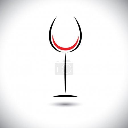 Illustration pour Graphique d'art vectoriel abstrait de ligne de verre de vin sur fond blanc - image libre de droit