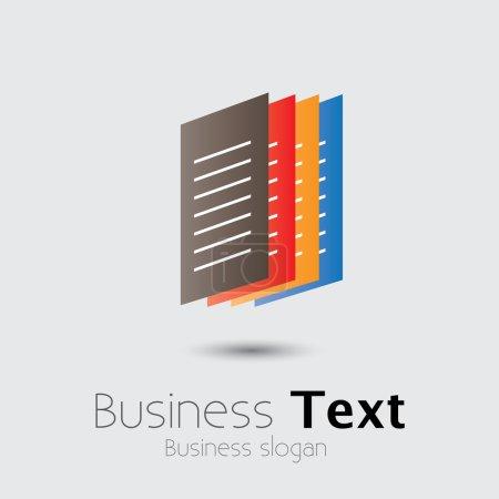 Illustration pour Des documents Office colorés ou des fichiers papier graphiques vectoriels. L'illustration montre des documents imprimés en groupe disposés de façon ordonnée avec espace pour le texte d'affaires et le slogan d'affaires - image libre de droit