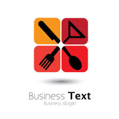 Colorful icons of spoonknifefork & glass- vector graphic