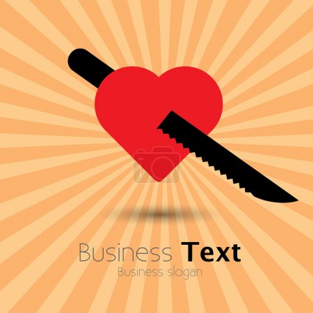 Red heart and knife icon showing love of food- vector graphic