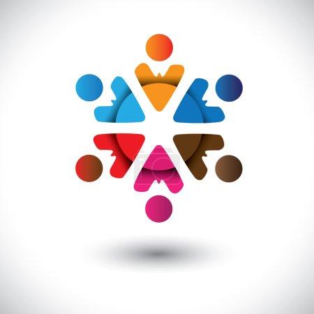 Illustration pour Icônes multicolores abstraites dans un graphique vectoriel circulaire. Cette illustration colorée peut également représenter le concept d'enfants jouant ensemble ou d'amitié ou de team building ou d'activité de groupe, etc. - image libre de droit