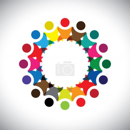 Concept vector graphic- abstract colorful employee unity icons(s