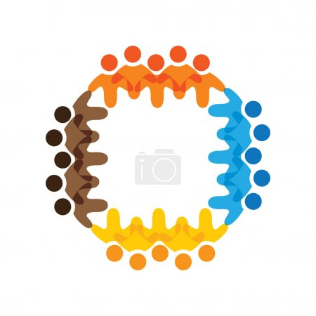 Illustration pour Concept vectoriel graphique- les enfants de l'école colorés équipes icônes (signes). L'illustration représente des concepts comme les syndicats de travailleurs, la diversité des employés, l'amitié et le partage communautaires, le jeu d'enfants, etc. - image libre de droit