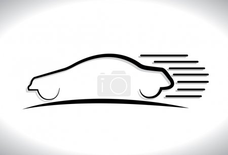 Concept vector graphic- speeding car automobile icon(symbol) wit