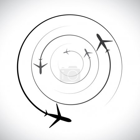 Concept vector graphic- airplane icons with its flying path