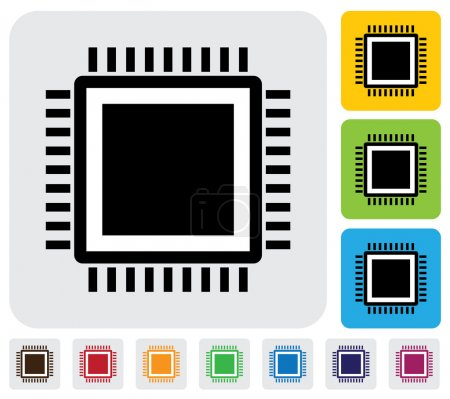 Illustration for CPU or computer processor icon(symbol)- simple vector graphic. This illustration has the icon on grey, green, orange and blue backgrounds & useful for websites, documents, printing, etc - Royalty Free Image