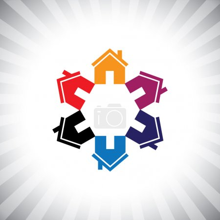 Illustration for Colorful houses(homes) or real estate icon(symbol) in circle. This vector graphic can also represent construction industry, realty business of buying & selling property, etc - Royalty Free Image