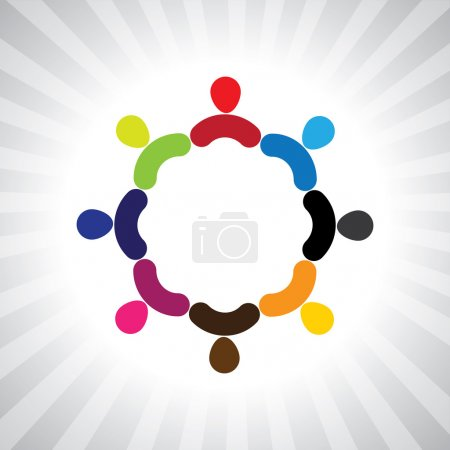 colorful community of as a circle- simple vector graphic
