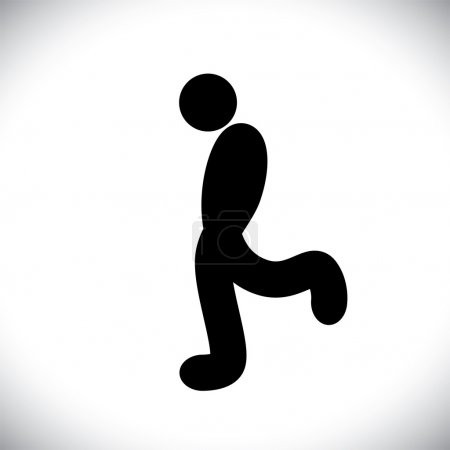 Silhouette sign of man walking causally in happy mood- vector gr