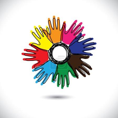 iconos abstractos de la mano con contornos como pétalos de flor- vector gr