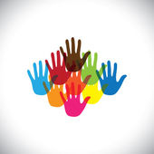 Colorful hand(palm) icons(signs) of children together- vector graphic This illustration concept of play-school with happy colorful kids and toddlers playing together & having fun