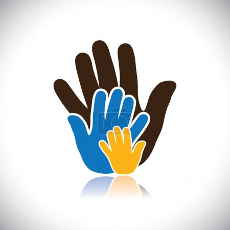 Illustration for Colorful hand icons(signs) of people showing concept of family- vector graphic. This illustration consists of human hands of father, mother & kid showing parental love, bonding & close relationship - Royalty Free Image