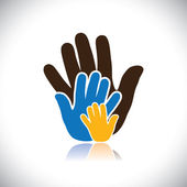 Colorful hand icons(signs) of people showing concept of family- vector graphic This illustration consists of human hands of father mother & kid showing parental love bonding & close relationship