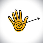 outline of hand icon(sign) with arrow - concept vector graphic