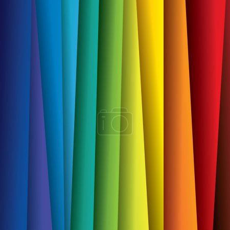 Illustration for Abstract colorful paper or sheets background (backdrop) - vector graphic. This illustration contains sheets of paper in rainbow color spectrum - Royalty Free Image