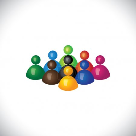 colorful 3d group of diverse & united people icons or signs - ve