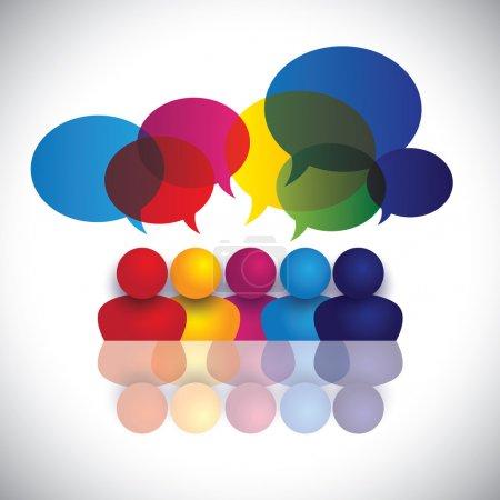 vecteur de la notion de parler les enfants ou de réunion des employés de bureau