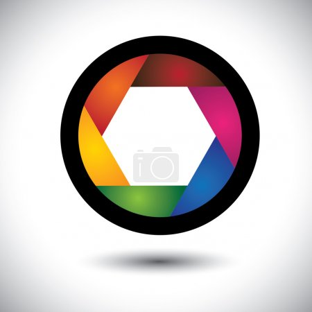 Abstract colorful camera shutter ( aperture ) with blades - vect