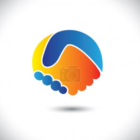Concept vector graphic icon - business people or friends hand sh