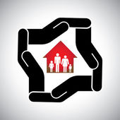 protection or safety of house or home with family concept vector