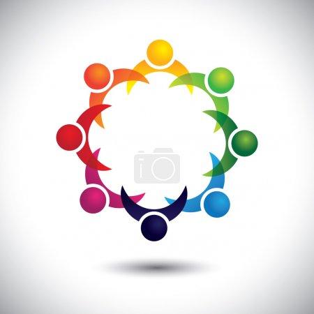 Illustration pour Amis & autres personnes faisant la fête ensemble - concept de divertissement vecteur. Ce graphique abstrait représente également la réunion du groupe de soutien, l'apprentissage des élèves, l'unité communautaire, la stratégie de gestion et la planification. - image libre de droit