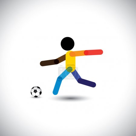 Colorful vector of a football player kicking the ball