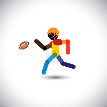 Colorful vector of a american football player running for ball