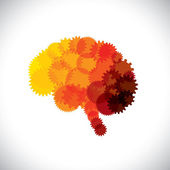 Concept vector icon of abstract brain or mind with cogwheels This orange yellow red brain graphic represents human brain efficient functioning machinery made of gears & producing solutions & ideas