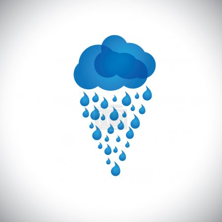 blue clouds & rain vector icon, sign or symbol on white backgrou