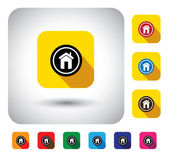 House or home sign on button - flat design vector icon This long shadows graphic symbol also represents construction industry website homepage housing real estate property market asset sale
