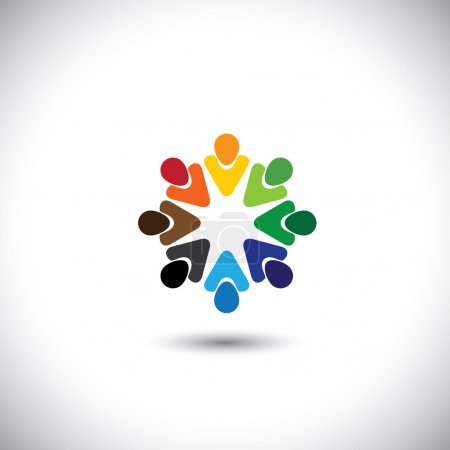 Illustration for Abstract colorful people together as circle - concept vector. This graphic also represents internet community, team work and team building, social media, employees meetings, office staff, etc - Royalty Free Image
