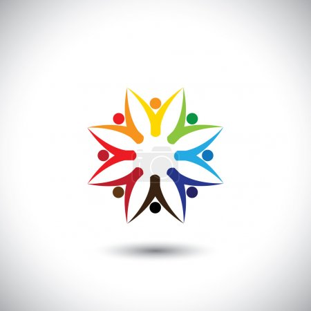 Illustration for Happy colorful people community in circle - concept vector. This graphic also represents motivated people, team work and team building, inspired employees, children & kids enjoying - Royalty Free Image