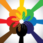 group of hands taking pledge promise or vow - concept vector ic
