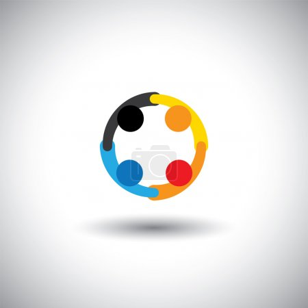 Colorful vector of people icons working as team & cooperating