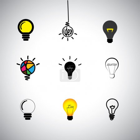concept vector icons set of different kinds idea & light bulbs