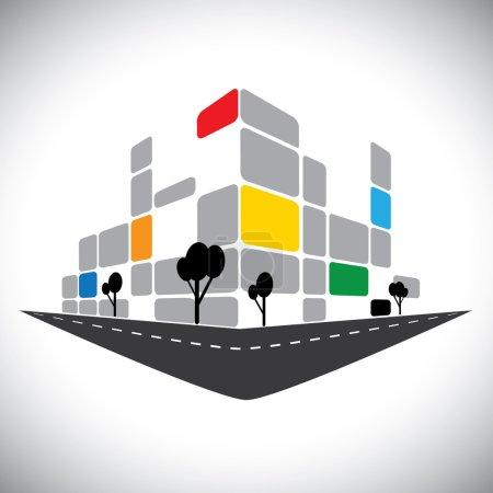 icône de vecteur - Bureau commercial grande hauteur de construction de ville skyli