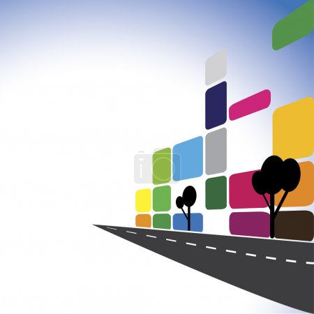 Illustration pour Concept vecteur - immeubles de bureaux colorés, appartements, gratte-ciel. L'illustration graphique représente également la ville au centre-ville avec des routes modernes, bâtiment, industrie immobilière, complexes commerciaux - image libre de droit