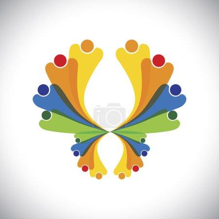 Concept vector - people joyful & excited & having ...