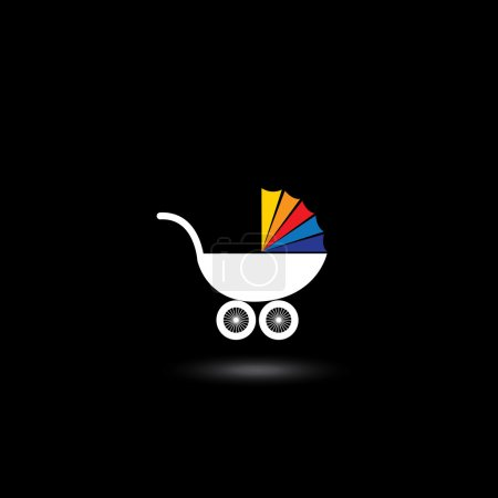 pram for infants nad kids vector icon with colorful top